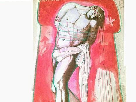 Bozzetto Jesus Pop Grande Gouache su carta da scenografia by Beatrice Feo Filangeri
