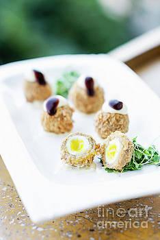 Breaded Pork And Quail Egg Gourmet Starter Snack Food by Jacek Malipan