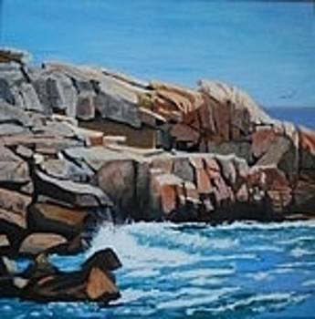Breakwater Herring Cove NS by Margaret Farrar