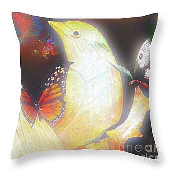 Bride and Butterflies Throw Pillow by Gayle Price Thomas