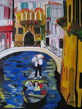 Bridge and canal in venice by Saman Khan