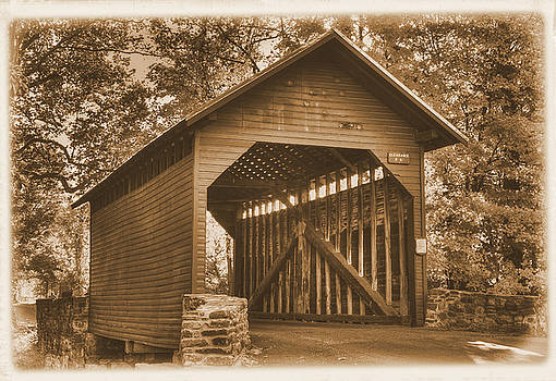 Bridge to the Past - Roddy Road Covered Bridge Over Owens Creek-A1 Sepia Frederick County Maryland by Michael Mazaika