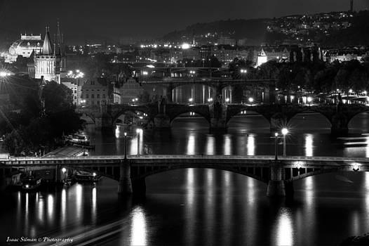 Isaac Silman - Bridges of Prague at night