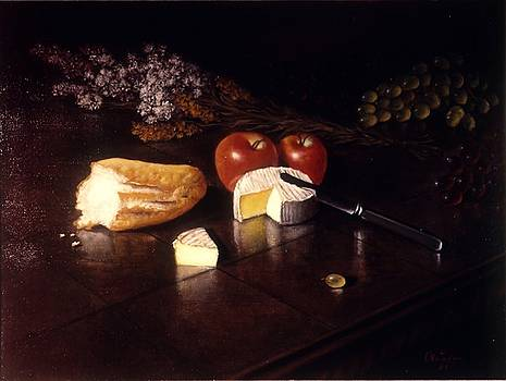Brie   Bread  Fruit and Flowers by David Olander