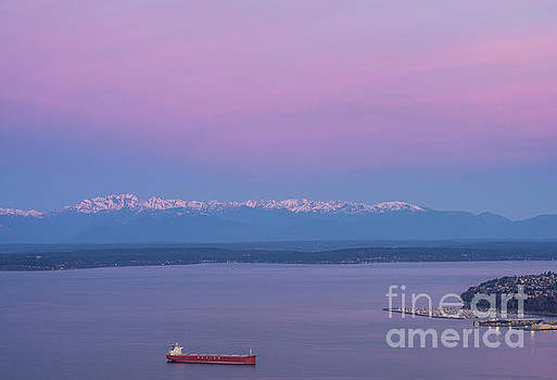 Bright Olympic Mountains and Sunrise Skies by Mike Reid