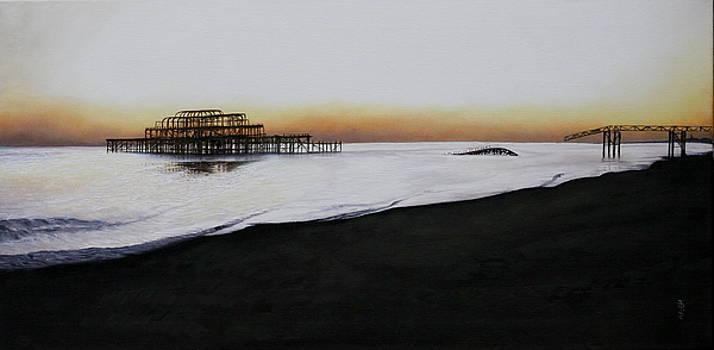 Brighton West Pier-Tranquil sunset by Pauline Sharp
