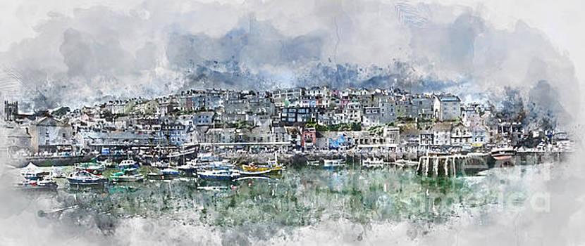 Brixham Harbour - Panoramic by Ann Garrett