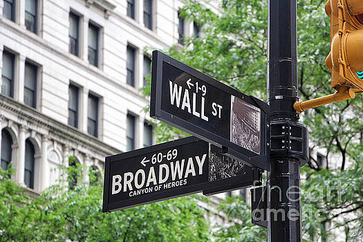 Broadway and Wall Street Street Sign 1 by Nishanth Gopinathan