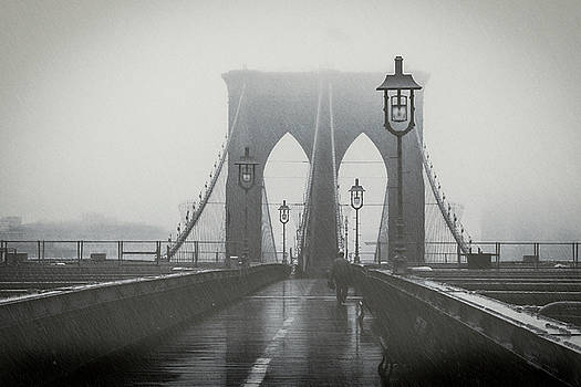 Brooklyn Bridge in the Rain by Ray Devlin