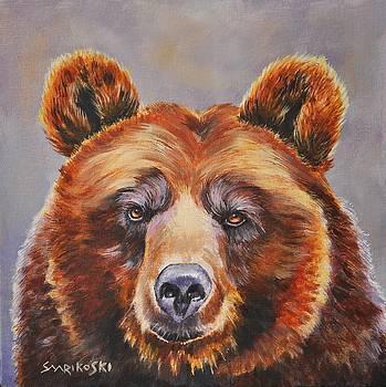 Brown Bear Portrait by Louise Charles-Saarikoski