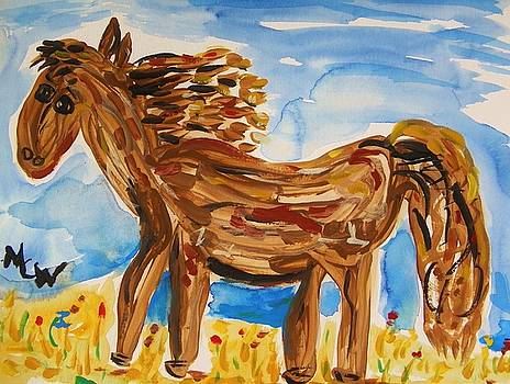 Brown Horse in Wildflowers by Mary Carol Williams