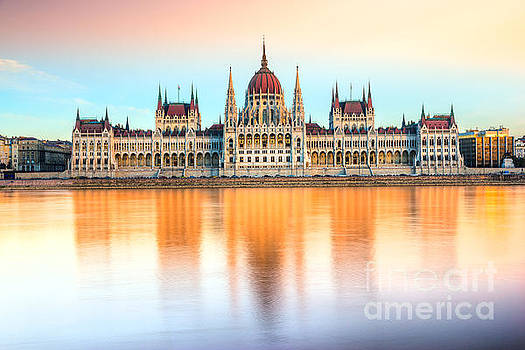 Budapest parliament at sunset - Hungary by Luciano Mortula