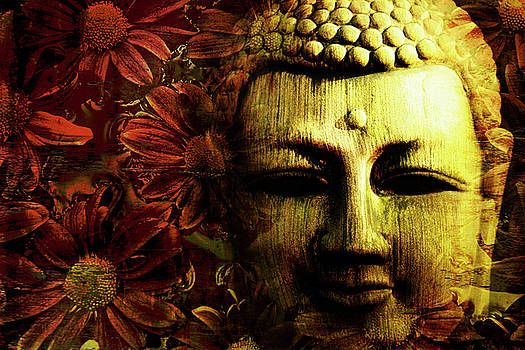 Buddha In Red Chrysanthemums by Skip Nall