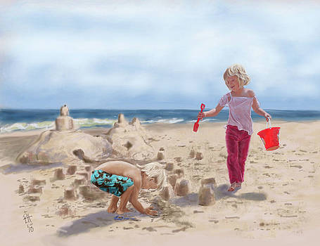 Builders on the Beach by Peggy Hickey