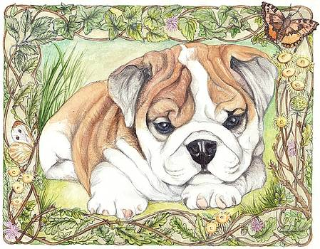 Bulldog Puppy Floral Border by Morgan Fitzsimons