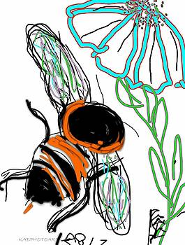 Bumble Bee and Flower Drawing by Kathy Barney