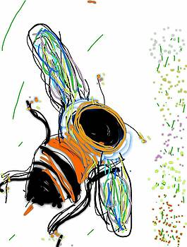 Bumblebee Flying Above and to Flowers by Kathy Barney