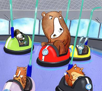 Bumper Cars Bumping  by Scott Nelson