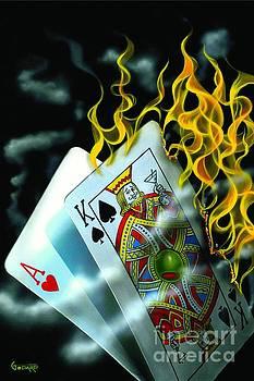 Burning Blackjack by Michael Godard
