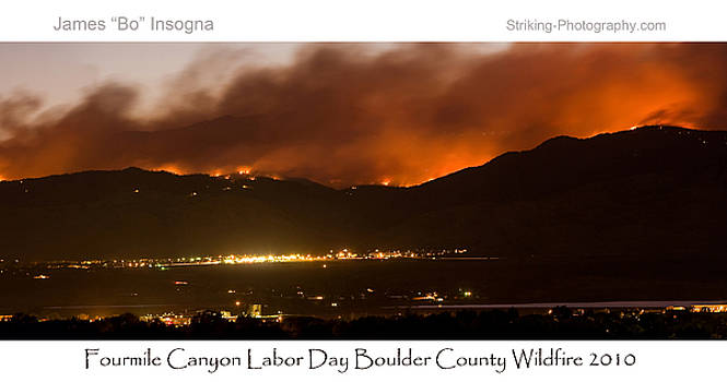 James BO  Insogna - Burning Foothills Above Boulder Fourmile Wildfire Panorama Poster