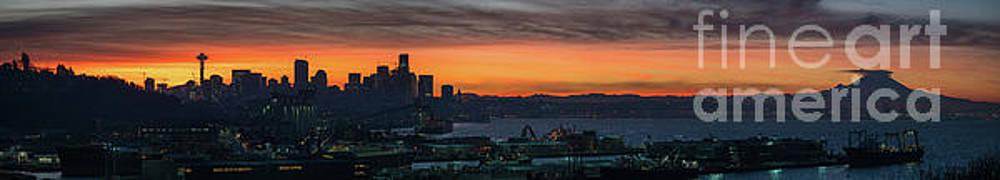 Burning Seattle Skyline Sunrise Panorama by Mike Reid