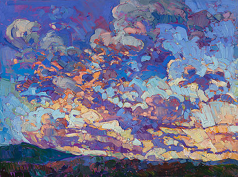 Burst of Clouds - Diptych Left Panel by Erin Hanson