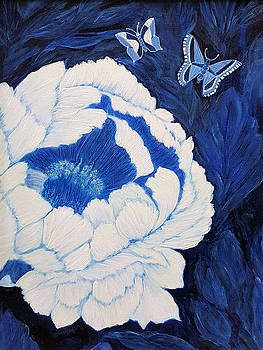 Butterflies and Peony blossom by Anke Wheeler