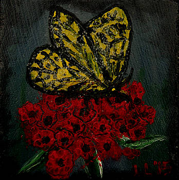 Butterfly and Blooms by Laura Lawless