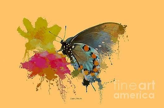 Butterfly on Lantana - Splatter Paint Tee Shirt Design by Debbie Portwood