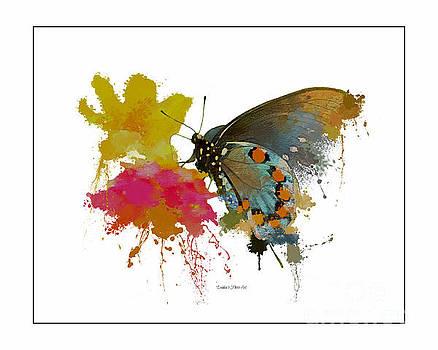 Butterfly on Lantana - Splatter Sillhouette by Debbie Portwood