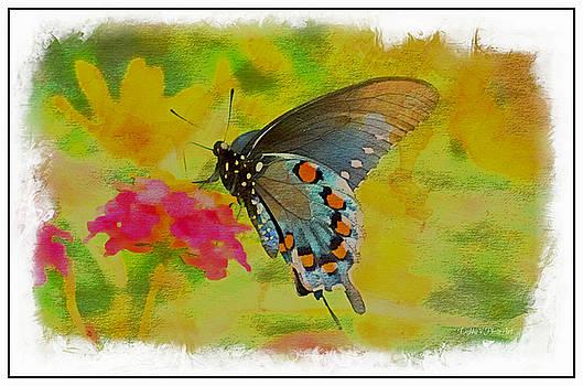 Buttterfly on Lantana - Digital Paint by Debbie Portwood
