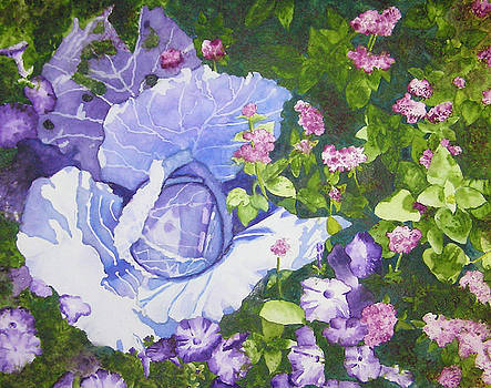 Cabbage and Petunias II by Karla Horst