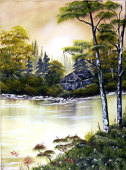 Cabin and Stream--Original sold by Edward C Van Wicklen Sr