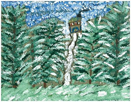 Cabin in Wintry Woods by Rosemary Mazzulla