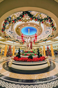 Caesars Palace Main Entrance at Christmas by Aloha Art