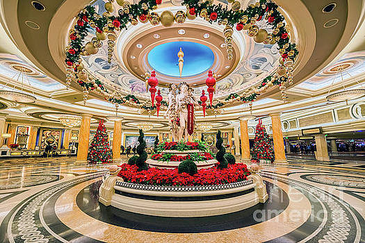 Caesars Palace Main Entrance at Christmas Wide by Aloha Art