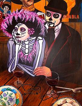Cafe- Day of the Dead by Susan Santiago