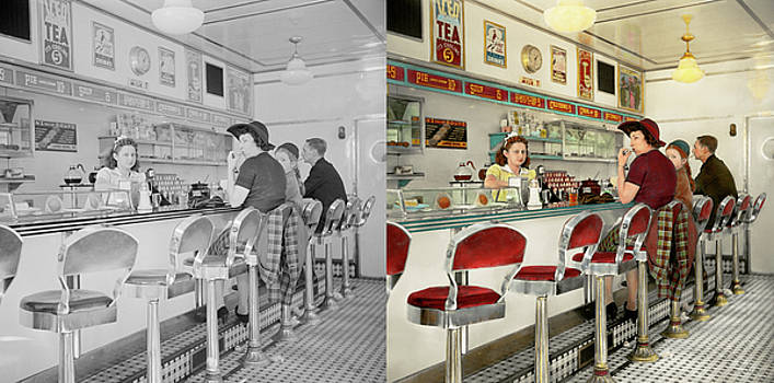 Cafe - The local hangout 1941 - Side by Side by Mike Savad
