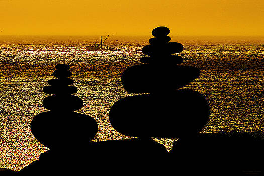 Cairns in Silhouette by Marty Saccone