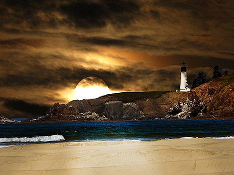 California lighthouse moon by Randall Branham