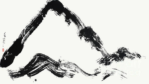 Calligraphic Mountain Painting In Zen Style by Nadja Van Ghelue
