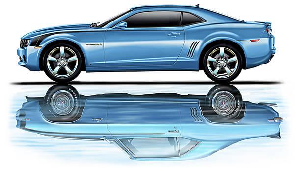 Camaro 2010 Reflects Old Blue by David Kyte