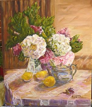 Camelias and the tea pot by Marieve Ortiz