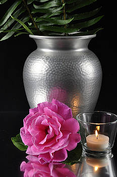 Candle, Flower and Vase by Jim Walls PhotoArtist
