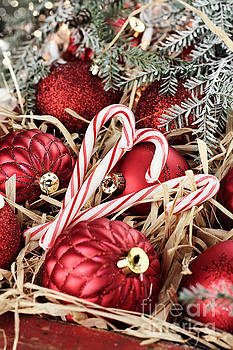 Candy Canes and Red Christmas Ornaments by Stephanie Frey