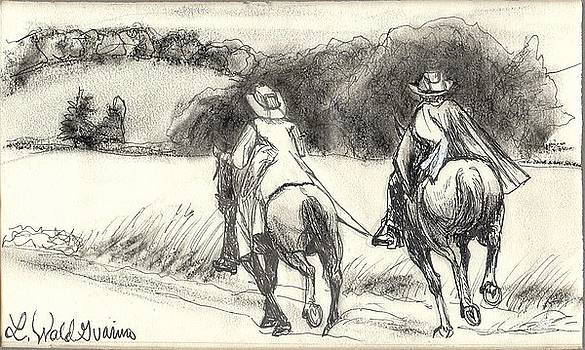 Cantering on the Trail by Lisa Guarino