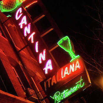 Cantina Italiana Neon Sign Square - Boston North End by Joann Vitali