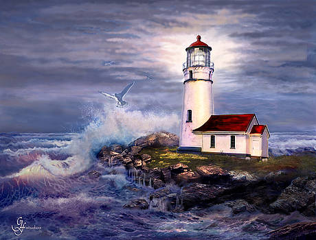 Cape Blanco  Lighthouse on Rocky Shores by Regina Femrite