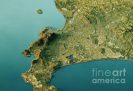 Cape Town 3D Landscape View South-North Natural Color by Frank Ramspott