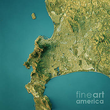 Cape Town Topographic Map Natural Color Top View by Frank Ramspott